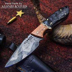 ALONZO KNIVES USA CUSTOM HANDMADE DAMASCUS HUNTING SKINNING KNIFE RAM HORN 2157 #AlonzoKnives