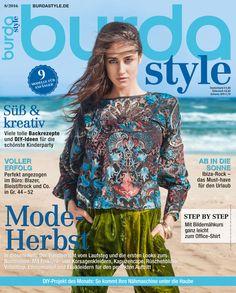 burda style – 08/2016 – In dieser Ausgabe widmen wir uns der Herbst-Mode mit Trendberichten vom Laufsteg und die ersten Looks zum Nachnähen. Mit Folklore- und Korsagenkleidern, Kapuzencape, Rüschenbluse, Volanttop, Ethnomantel und Etuikleidern für den perfekten Auftritt.
