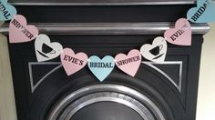Personalised bridal shower bunting banner garland. Pastel pink,pastel turquoise & ivory hen party, bridal party, tea party bunting by Garlandsandgifts on Etsy