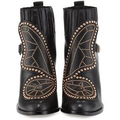 Sophia Webster Karina Studded Butterfly 100mm Bootie (20 875 UAH) ❤ liked on Polyvore featuring shoes, boots, ankle booties, black, short black boots, short boots, studded ankle boots, black block heel boots and black studded booties