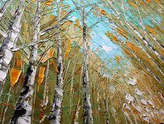 Original Birch Oil Painting Modern Oil Painting Silver por Artcoast