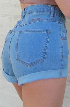 6388e771e6e0 MINKPINK Showdown Rolled Cuff High Waisted Denim Shorts in Light Blue