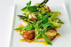 Pan fried scallops with grilled asparagus and chipotle mayonnaise recipe, Listener – Once scallops and asparagus are in the shops in about three weeksamprsquo time we will know spring is here - Eat Well (formerly Bite) Chipotle Mayonnaise, Mayonnaise Recipe, Fish Recipes, Seafood Recipes, Pan Fried Scallops, A Food, Good Food, Grilled Asparagus, Fresh Seafood