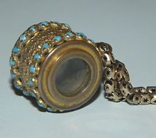 RARE ANTIQUE FRENCH GILT METAL TURQUOISE INSETS MINIATURE SPY GLASS CHATELAINE