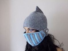 Gray and Blue Crochet Knight Hat-Knight Hat by myknittingworld