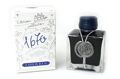 J. Herbin 1670 Anniversary Fountain Pen Ink - 50 ml Bottle - Bleu Ocean (Ocean Blue)