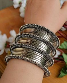 Ladies All Silver Bracelets Indian Jewelry Earrings, Silver Jewellery Indian, Jewelry Design Earrings, Silver Jewelry, Ethnic Jewelry, Egyptian Jewelry, Crystal Jewelry, Indian Bangles, Tarnished Jewelry