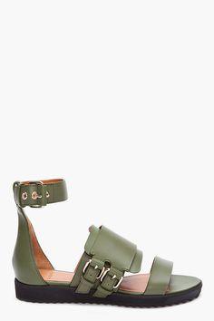 GIVENCHY //  GREEN VIRGINIA BIKER SANDALS