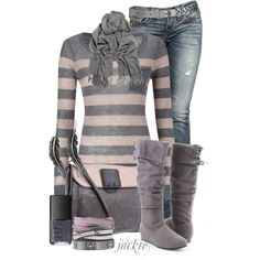 Stripes and Jeans, created by jackie22 on Polyvore