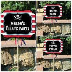 Aaarrr Mateys! Its our Big Bounty of Pirate Themed Signs including Editable Text! - PDF    Our adorable black, red, and a touch of blue pirate signs