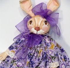 Purple Primitive Bunny Rabbit Cloth Art Doll by MorningMistDesigns