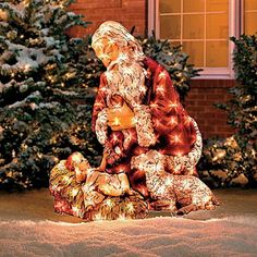 Kneeling Santa™ Lighted Yard Art Really, all you need is one decoration! Christmas Jesus, Christmas Art, All Things Christmas, Christmas Holidays, Christmas Ideas, Christmas Lights, Tacky Christmas, Office Christmas, Christmas Goodies