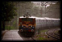 Navyug Express in rain.