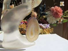 Dyed Agate Slice Pendant Necklace in Purple and Gold Colors by SaraJewelryDesign on Etsy