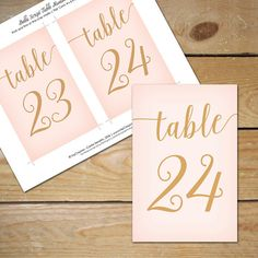 Blush Pink Table Numbers / Blush Pink Wedding Table Number Printable / Blush and Gold Decor - House Trends Club Pink And Gold Wedding, Blush Pink Weddings, Blush And Gold, Gold Table Numbers, Wedding Table Numbers, Wedding Cards, Wedding Invitations, Wedding Stationary, Order Of Wedding Ceremony