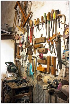 Tools Old Tools hanging on the wall, even if not used they make a nice decoration for a Mans room, wife would not like to dust.