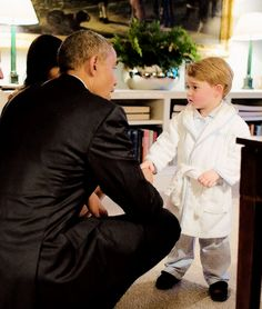 Prince George shakes hands with President Barack Obama at Kensington Palace | April 22, 2016