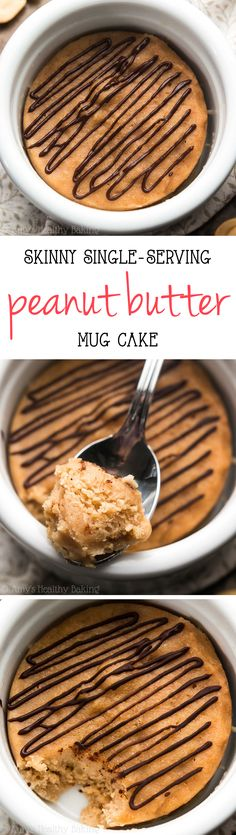 Skinny Single-Serving Peanut Butter Mug Cake -- this tastes like a Reese's PB cup! Sweet, of protein & completely guilt-free! All clean eating ingredients are used for this healthy dessert recipe. Protein Mug Cakes, Mug Cake Healthy, Healthy Sweets, Healthy Baking, Mug Recipes, Cupcake Recipes, Baking Recipes, Cupcake Cakes, Dessert Recipes