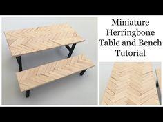 Miniature Herringbone Table and Bench Tutorial! - YouTube