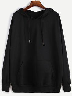 Black Hooded Drawstring Sweatshirt