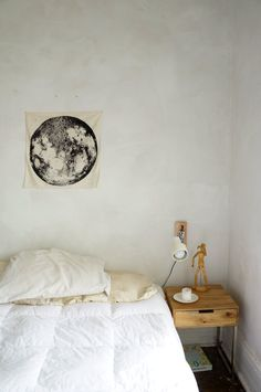 Name: Caroline Robe (Woodworker) and Magritte Nankin (Ceramic and Textile Artist) Location: Chicago, Illinois Bedroom Workspace, College Dorm Rooms, Apartment Therapy, House Tours, Small Spaces, Interior Design, Furniture, Moon, Magritte