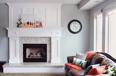 GORGEOUS craftsman mantel, love the simplicity of the canvas's.