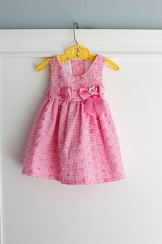 3-6 months: Pink Eyelet Gingham Baby Girl Dress with by Petitpoesy
