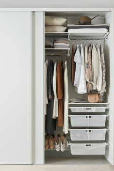 Elfa wardrobe wall hang with calssic white 4 Door Wardrobe, Wardrobe Drawers, Wardrobe Cabinets, Small Wardrobe, Small Closets, Bedroom Wardrobe, Clothes Drawer Organization, Wardrobe Organisation, Bedroom Organization