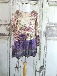 Purple Bohemian Plus Size Eco Clothing Loose Fit Knit Tunic Dress Boho Chic Women's Fashion Upcycled Recycled Xlarge