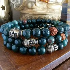 Mens Buddha Bracelet Genuine Bloodstone With Rudraksha Seed Mala Bead And Br Blessed For Healing Courage