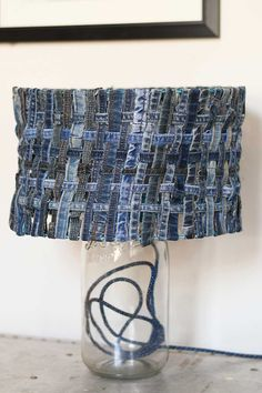 How To Make a Unique Table Lamp With A Denim Lampshade - Pillar Box Blue Denim Crafts, Upcycled Crafts, Diy And Crafts, Creative Crafts, Marimekko, Ikea Mirror, Unique Table Lamps, Denim And Diamonds, Old Mirrors