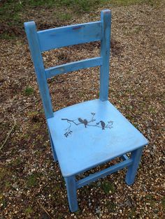 Distressed Vintage Decoupage Greek Blue Chair