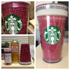 """I know a close friend who would love this gift!!!!! ♥ Instructions: 1. Buy materials: -Modge Podge spray able glue -Grande Starbucks """"Mark it"""" cold beverage reusable cup -Glitter 2. Open up the cup. Take inner cup, and spray with adhesive spray 3. Quickly and generously apply glitter 4. Let it sit for 1 hour 5. Reassembly cup."""