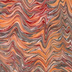Classically marbled papers using special combs, stylus or rakes in traditional patterns such as the fan-tailed pattern and the marble veins pattern. Hand marbled in Italy.