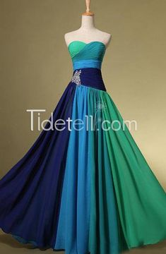New Colorful A-line Sweetheart Long Chiffon Empire Prom Dresses