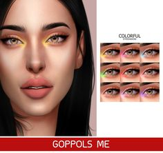 Colorful Eyeshadow Goppols Me Sims 4 Cc Eyes, Sims 4 Mm Cc, Sims 4 Game Mods, Sims Mods, The Sims 4 Skin, Maxis, Pelo Sims, The Sims 4 Packs, Sims 4 Cc Makeup