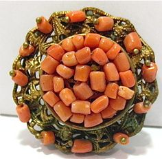 Victorian gold Coral dress clip scarf clip 35mm