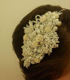 HANDMADE VINTAGE BRIDAL SIDE TIARA PEARL & CRYSTAL CAP | Seren Rose Bridal Jewellery MISI Handmade Shop