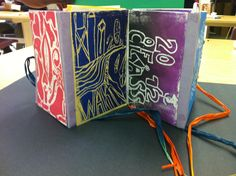 Middle school art club.... foam prints.  Students created accordion books and then made a set of prints to share. Each student then glued a different print to each page.