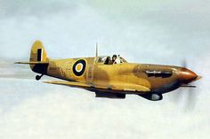 AUG 27 1943 French hero Rene Mouchotte's last flight Two clipped-wing Supermarine Spitfire V's of No 40 Squadron, South African Air Force serving in a ground support role. accompanied by another Spitfire of the Squadron patrols over the Tunisian coast. Air Force Aircraft, Ww2 Aircraft, Fighter Aircraft, Military Aircraft, Spitfire Supermarine, South African Air Force, Close Air Support, The Spitfires, Ww2 Planes