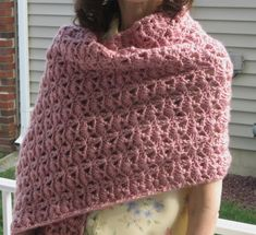 Princess Diana Crochet Shawl - Feel like royalty in this blush-hued crochet shawl - PLUS it makes a perfect Christmas gift