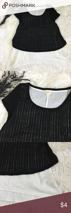 ANTHROPOLOGIE MEADOW RUE M BLACK LAYERED KNIT TOP See my other cute items**  size medium, 100% polyester, 100% cotton lining. Anthropologie Tops Blouses