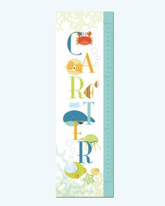 Growth Chart Height Chart on Canvas Seaworld 13 X42 by UrbanTickle, $54.00