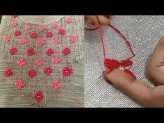hand embroidery bullion knot stitch | normal needle stitch | embroidery designs on kurti | #238 - YouTube