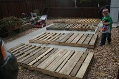 I first laid the pallets out and marked the first in each row at 30 inches. WOOD PALLET FENCE