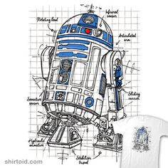 Robot Project: Blue | Shirtoid #droid #film #leduc #movies #r2d2 #schematic #scifi #starwars #theduc