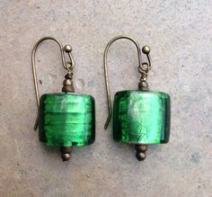 Green Murano Glass and Brass Earrings square by EastVillageJewelry