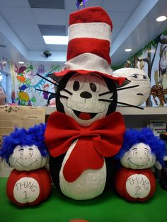 Cat in the Hat, Thing 1, & Thing 2 pumpkin decorating