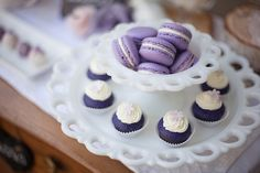 Love is Sweet ~ Styled Dessert Table - Erin Bell Photography Purple Dessert Tables, Purple Candy Buffet, Purple Desserts, Bolo Diy, Lavender Cupcakes, Beautiful Cupcakes, Diy Cake, Something Sweet, Love Is Sweet