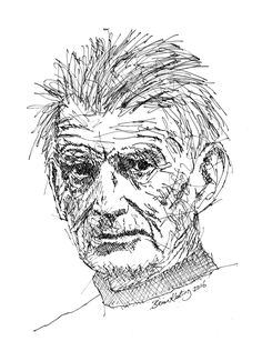 FINEARTSEEN - View Samuel Beckett by Brian Keating. An original black and white ink drawing of a portrait. Available on FineArtSeen - The Home Of Original Art. Enjoy Free Delivery with every order. White Ink, Black And White, Trinity College Dublin, Drawing Frames, Samuel Beckett, Irish Art, Impressionist, Find Art, Original Art